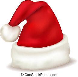 hat., claus, kerstman, vector., rood