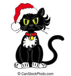 hat., claus, nero, santa, gatto