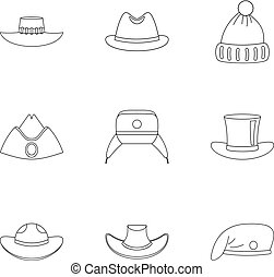 Hat collection icon set, outline style - Hat collection icon...