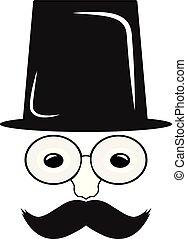 hat., człowiek, wąsy