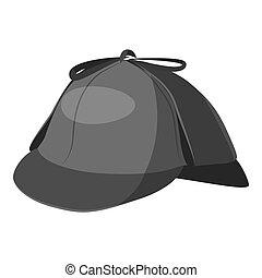 Hat detective icon, gray monochrome style
