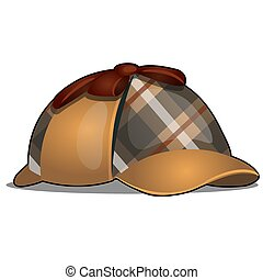 Hat detective isolated on white background. Vector cartoon illustration close-up.