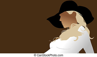 Hat - A beautiful girl wearing a wide brimmed hat.