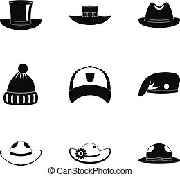 Hat fashion icon set, simple style - Hat fashion icon set....