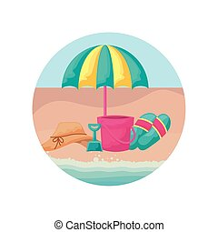 hat female with umbrella and icons vacation in beach