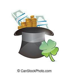 hat full of money. lucky illustration design