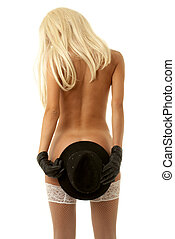 hat games - naked girl in gloves with hat
