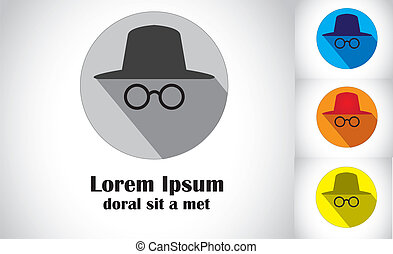 hat & goggles flat design abstract art of detective spy agent set. colorful unique symbol icons of person with spectacles & hat looking or searching for something - concept illustration art collection