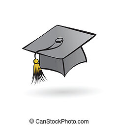 hat graduate student in a painted style on a white...