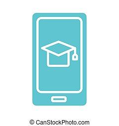 hat graduation in smartphone silhouette style icon