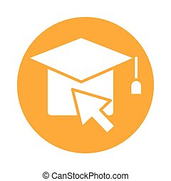 hat graduation with arrow mouse block style icon