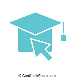 hat graduation with arrow mouse silhouette style icon