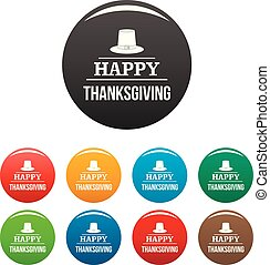 Hat happy thanksgiving icons set color