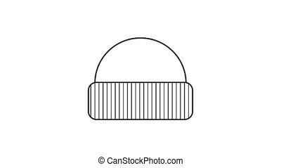 Hat icon animation best outline object on white background