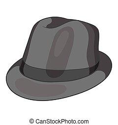 Hat icon, black monochrome style