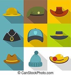 Hat icon set, flat style