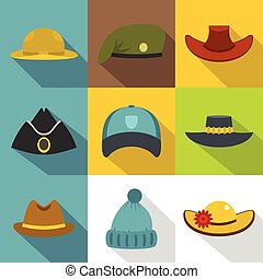 Hat icon set, flat style - Hat icon set. Flat style set of 9...