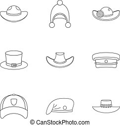 Hat icon set, outline style - Hat icon set. Outline set of 9...