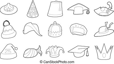 Hat icon set, outline style
