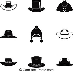 Hat icon set, simple style - Hat icon set. Simple set of 9...
