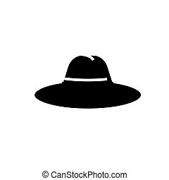 hat icon, vector illustration, black sign on isolated background