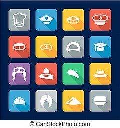 Hat Icons Flat Design Set 1