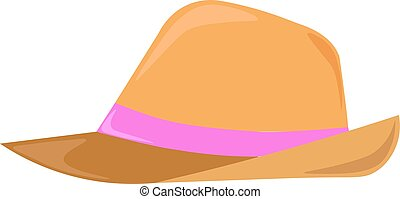 Hat, illustration, vector on white background.