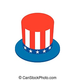 Hat in the USA flag colors isometric 3d icon