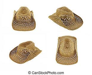 hat isolated on white background, cowboy hat set 4