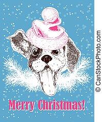hat., köszönés, új, kutya, vektor, szent, év, portré, kártya, boldog