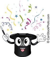 Hat Magician Confetti Mascot Illustration
