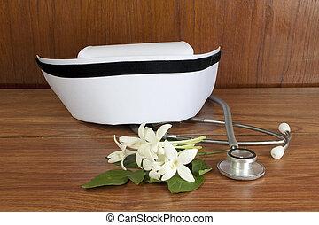Hat nurse white and stethoscope