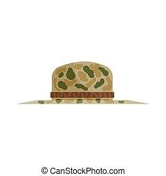 Hat of hunter icon, cartoon style