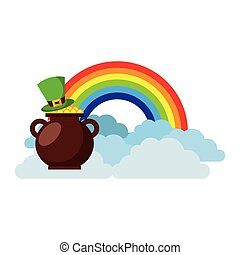 hat of leprechaun with pot coins treasure rainbow cloud fantasy