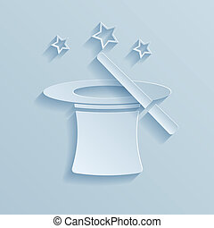 Hat of the conjurer paper icon. Vector illustration