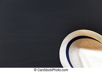 Hat on dark background. Top view. From above.