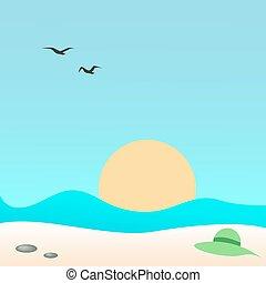 Hat on the beach, vector illustration