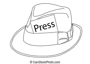 Hat outline - Vector black outline hat on white background
