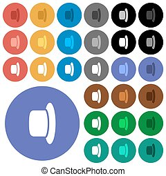 Hat round flat multi colored icons