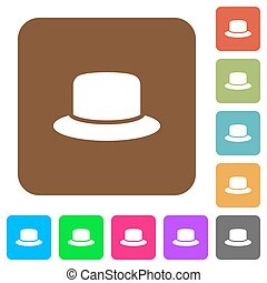 Hat rounded square flat icons