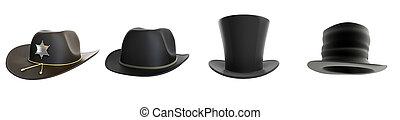 hat set on a white background 3D illustration