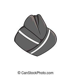 Hat stewardess icon, black monochrome style