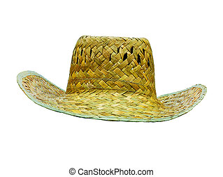 hat straw isolated on white front view