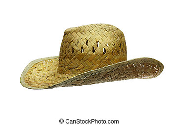 hat straw isolated on white side view