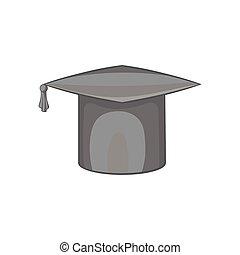 Hat student icon, black monochrome style