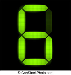 hat, szám, digitális
