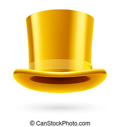 Hat - Yellow top hat on the white background.