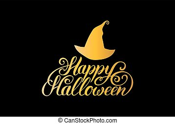 Hat vector illustration with Happy Halloween lettering. All Saints Eve background. Festive card design
