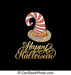 Hat vector illustration with Happy Halloween lettering. All Saints Eve background. Festive card design.