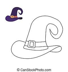 Hat witch coloring book. Magic cap hag Liner